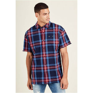 True Religion Men's Button Down Raw Edge Shirt